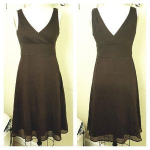 J. Crew // Chocolate Brown Silk A-Line Midi Dress
